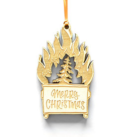 Merry Christmas Dumpster Fire Ornament