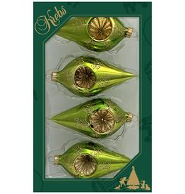 Green Drop Shaped Ornament Box Set of 4