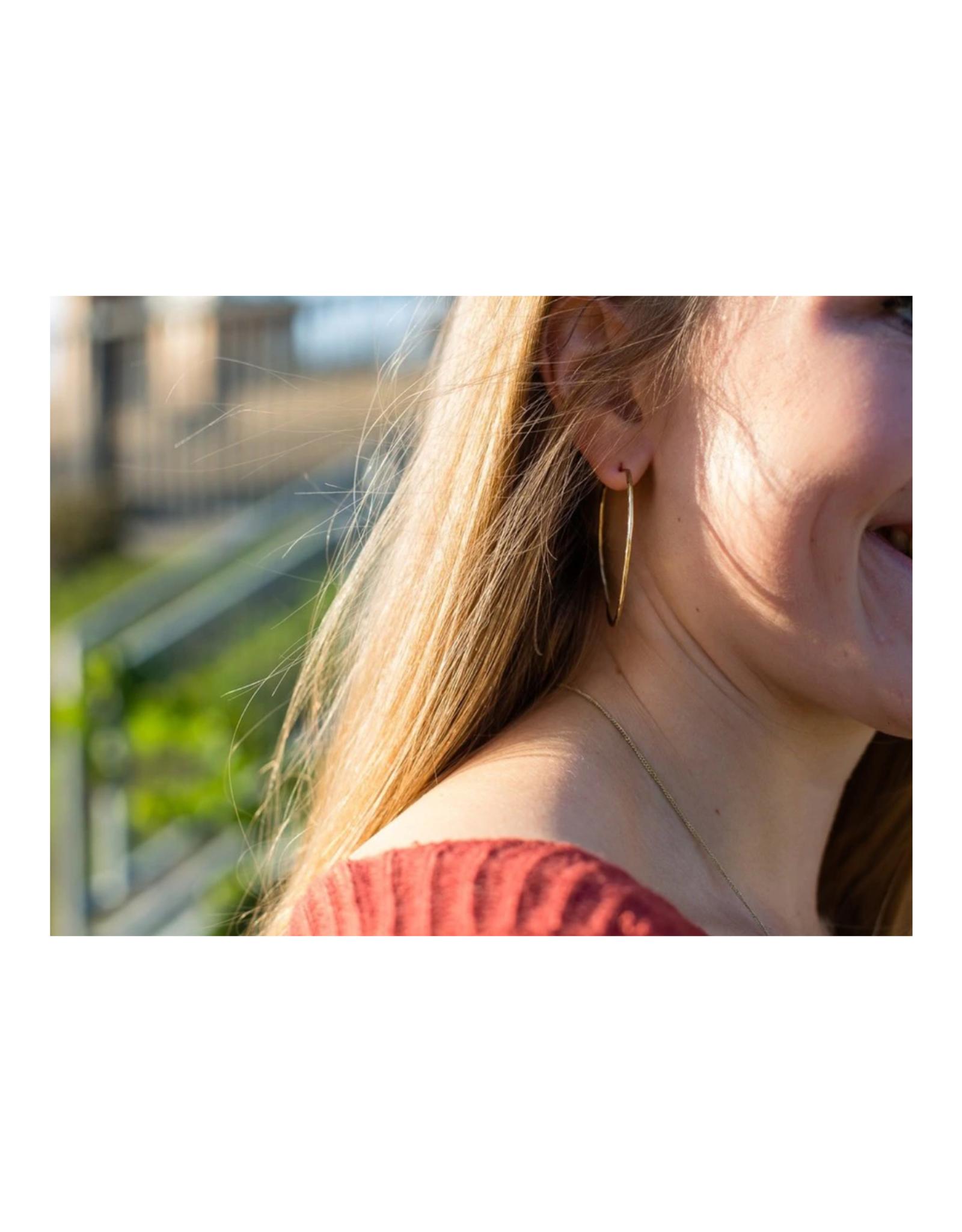Bamboo Hoop Earrings (Brass or Silver!)