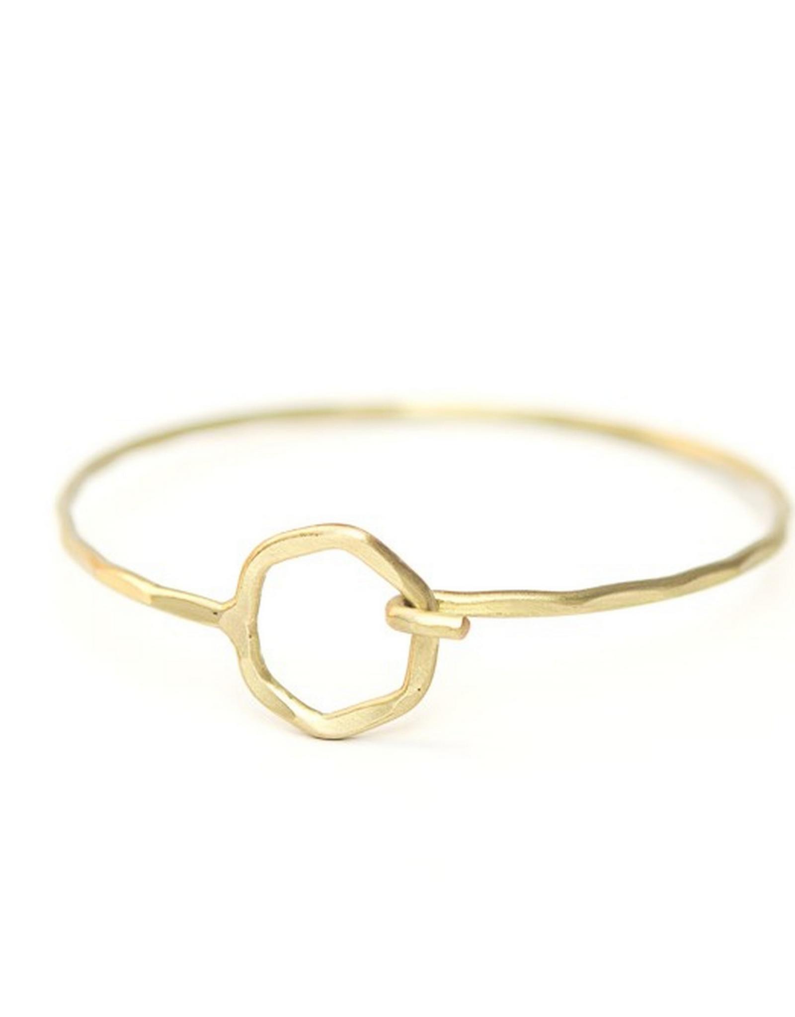 Hexagon Clasp Hammered Bracelet