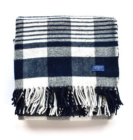 Plaid Fringed Throw - Navy/White