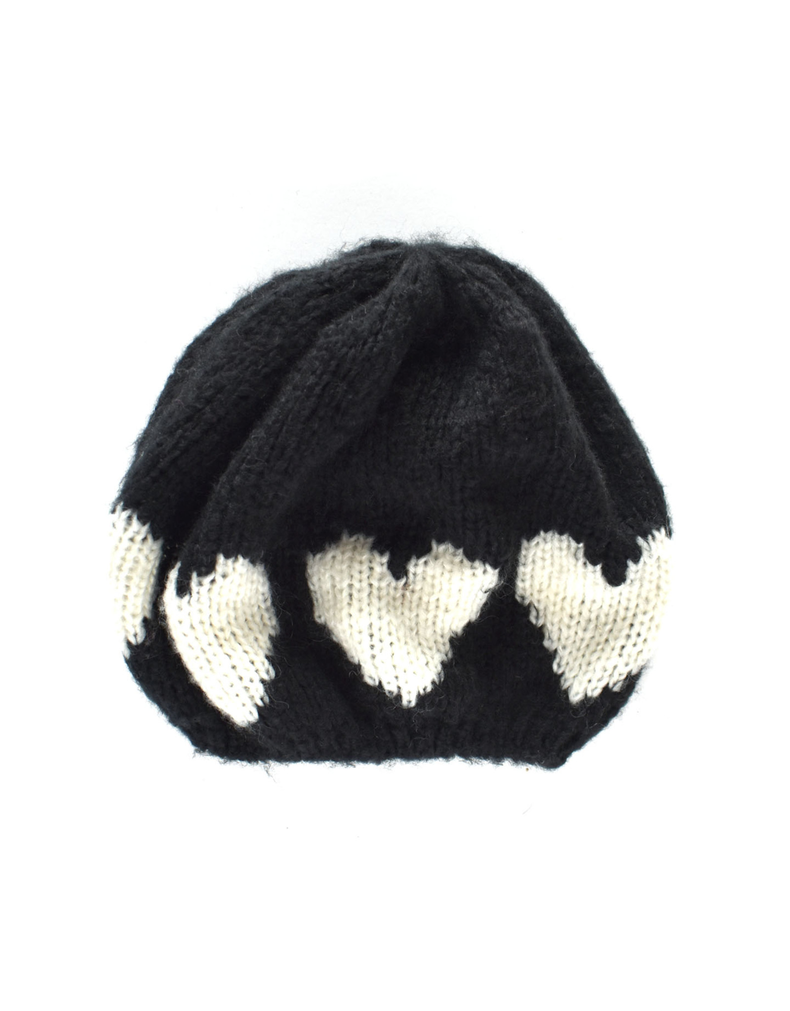 Heart Beanie : Black & Bone