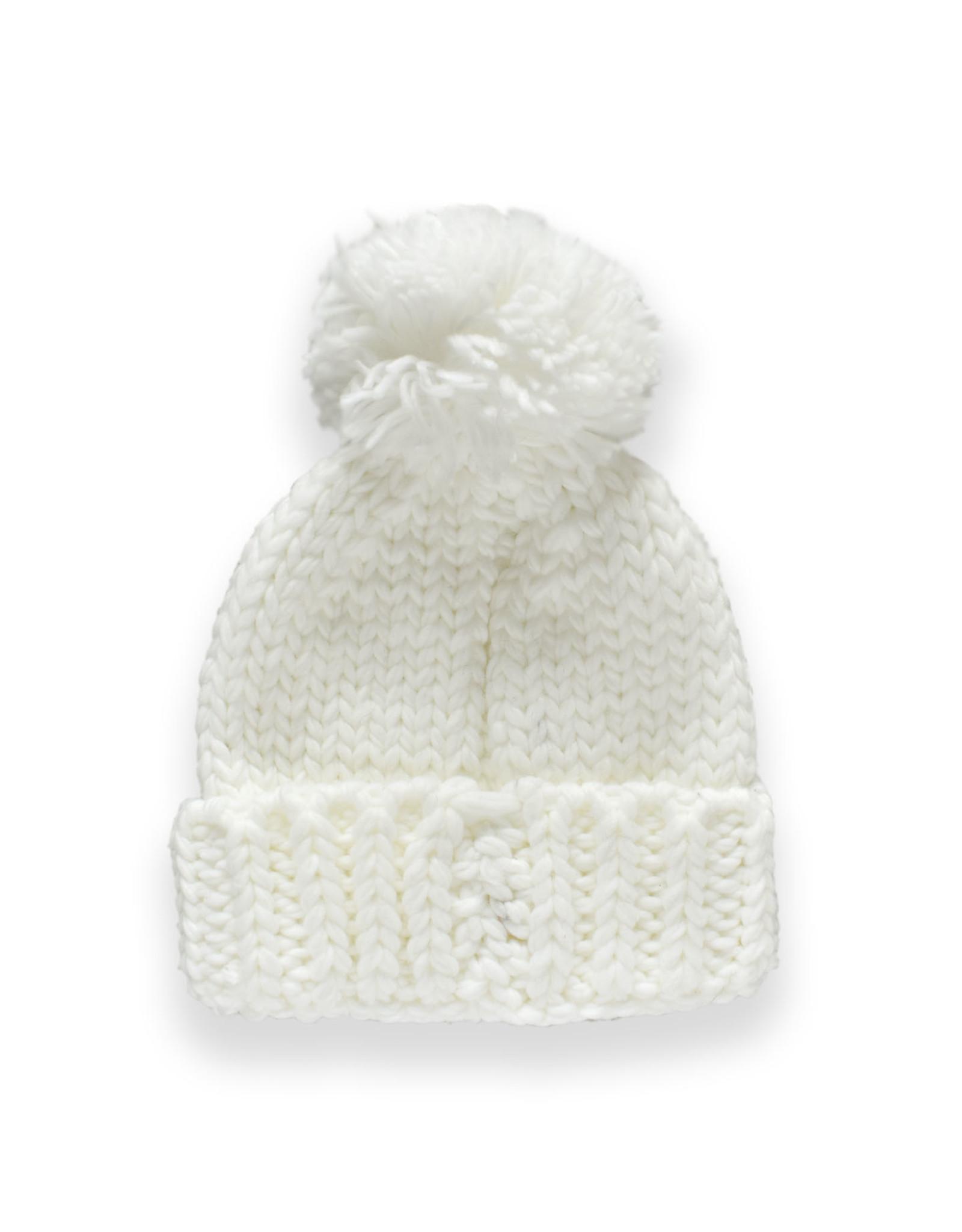 Thick Weave Pom Pom Hat - Ivory