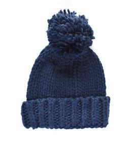 Thick Weave Pom Pom Hat - Navy