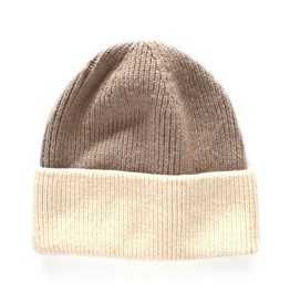 Two-Tone Beanie - Brown/Tan