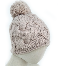 Chunky Cable Knit Pom Hat - Nude