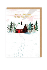 Merry Christmas to All the Family Cabin Greeting Card