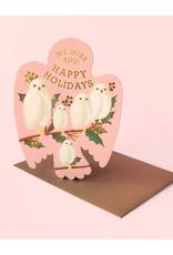We Miss You Happy Holidays Owls Die Cut Greeting Card
