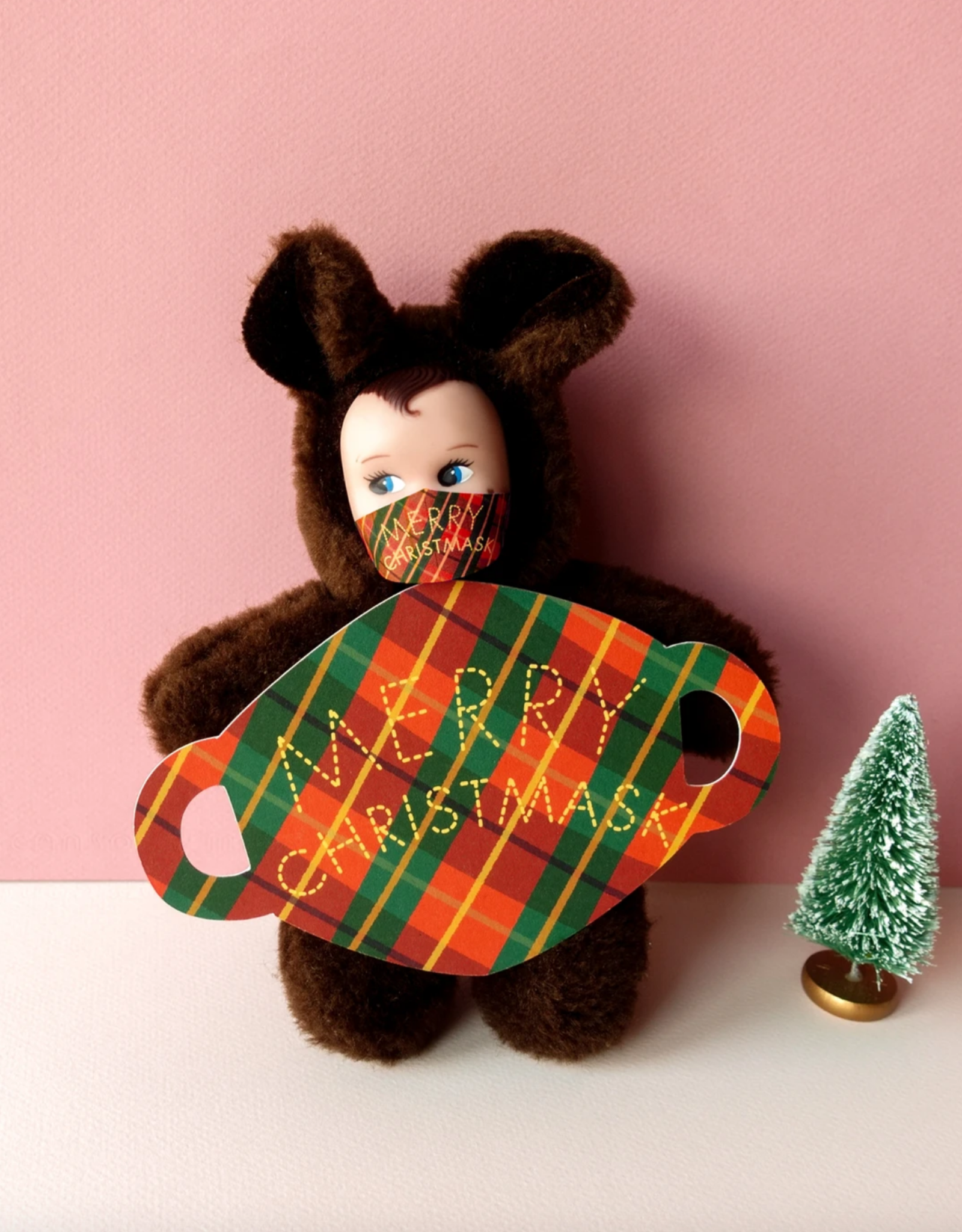 Merry Christmas Mask Die Cut Greeting Card