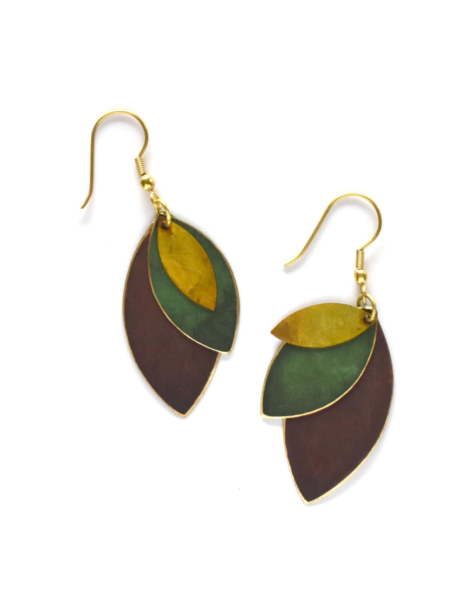 Autumnal Tones Leaf Earrings