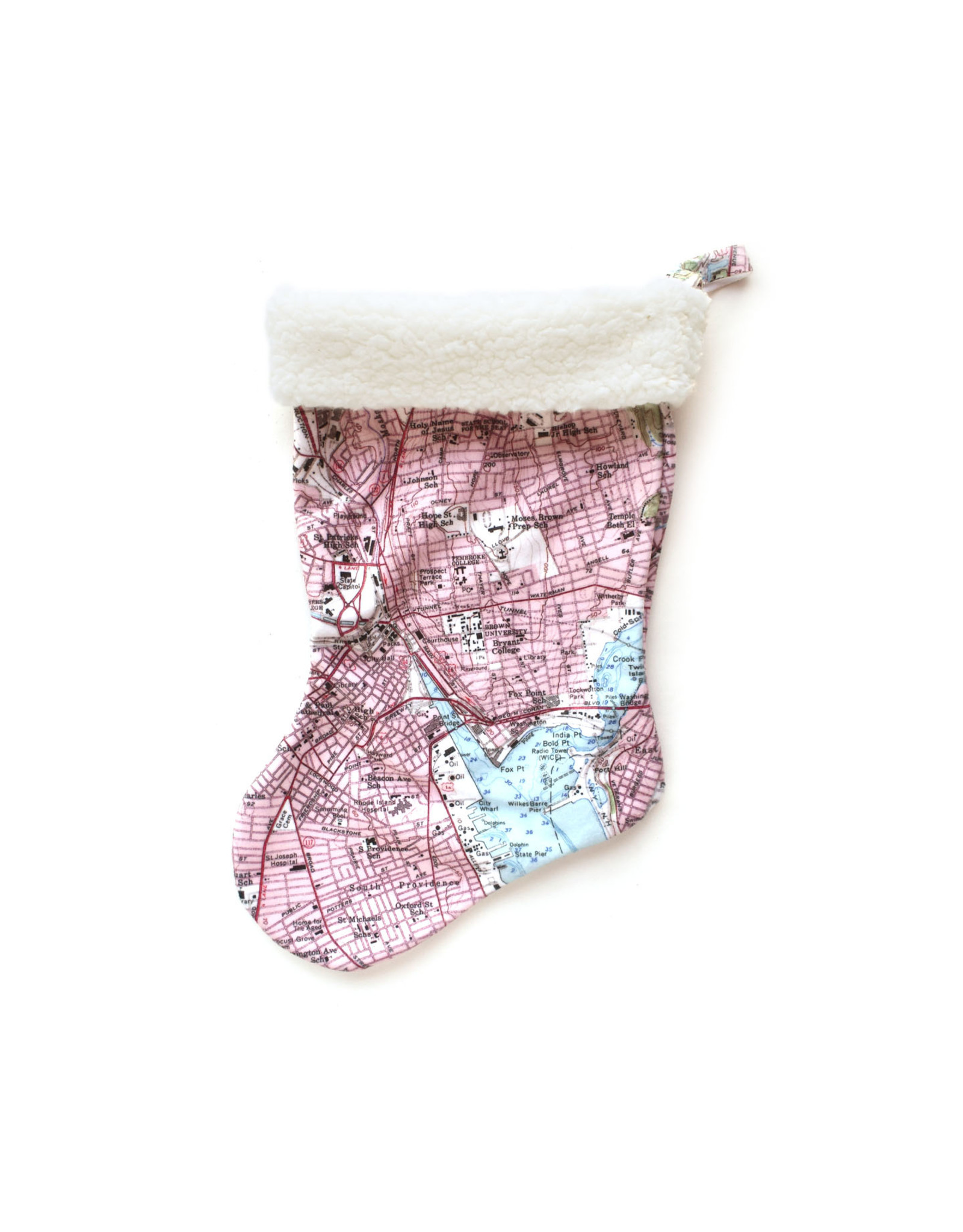 Providence Map Felt Stocking