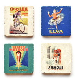 French Cyclist Marble Coaster Set