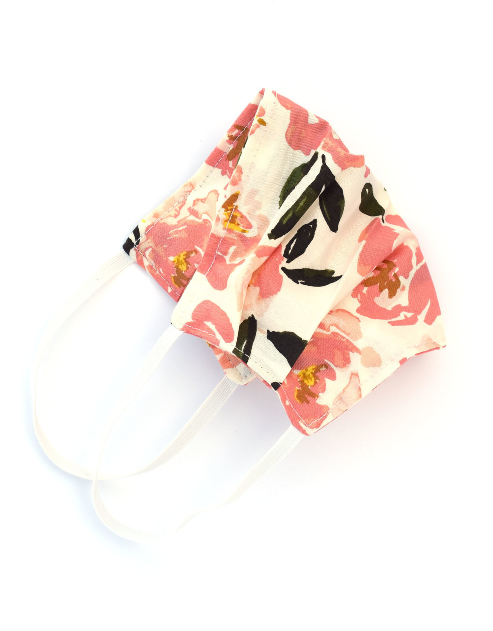 Pleated Cloth Face Mask -  Pink Roses