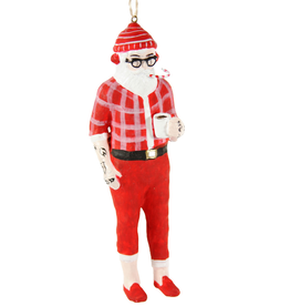 Hipster Santa Ornament