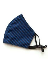 Adjustable Cotton Face Mask (Blue Stripes)