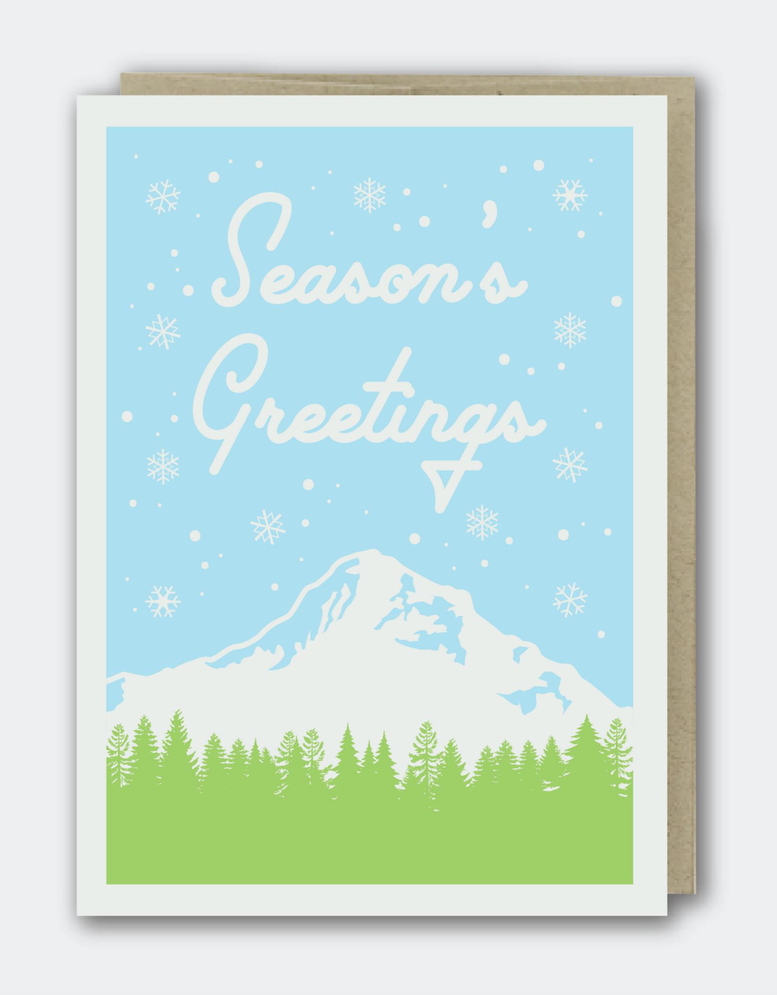 Season's Greetings Mountain Greeting Card
