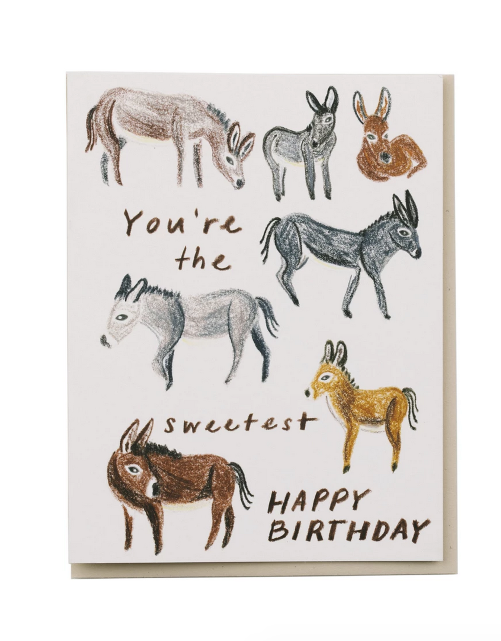 You're the Sweetest Happy Birthday (Donkeys) Greeting Card