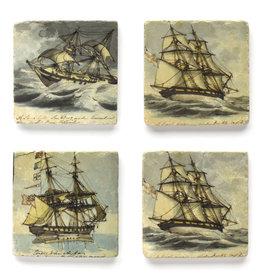 Clipper Ships Marble Coaster Set