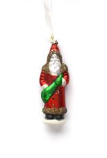Glass Hand-Painted Santa Ornament