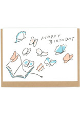 Happy Birthday Butterfly Book Greeting Card