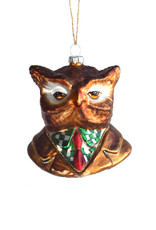 Glass Distressed Animal Bust Ornament: Owl