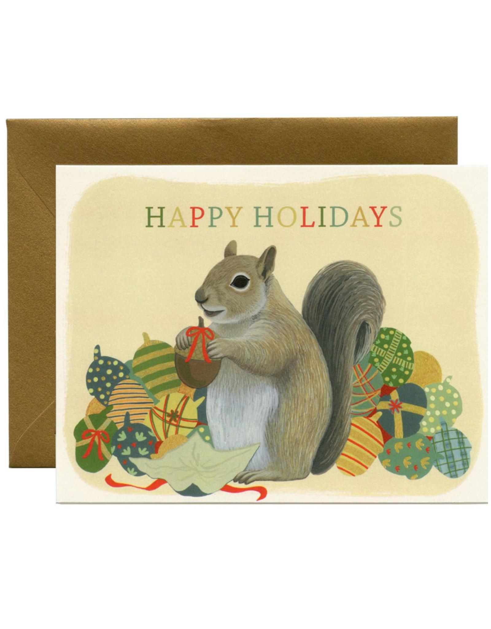 Happy Holidays Squirrel Greeting Card