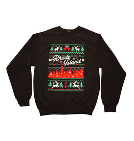 RI Cross-Stitch Christmas Sweatshirt (Black)