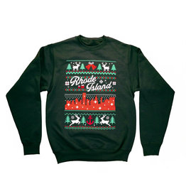 RI Cross-Stitch Christmas Sweatshirt (Green)