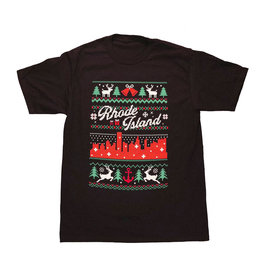 RI Cross-Stitch Christmas Shirt (Black)