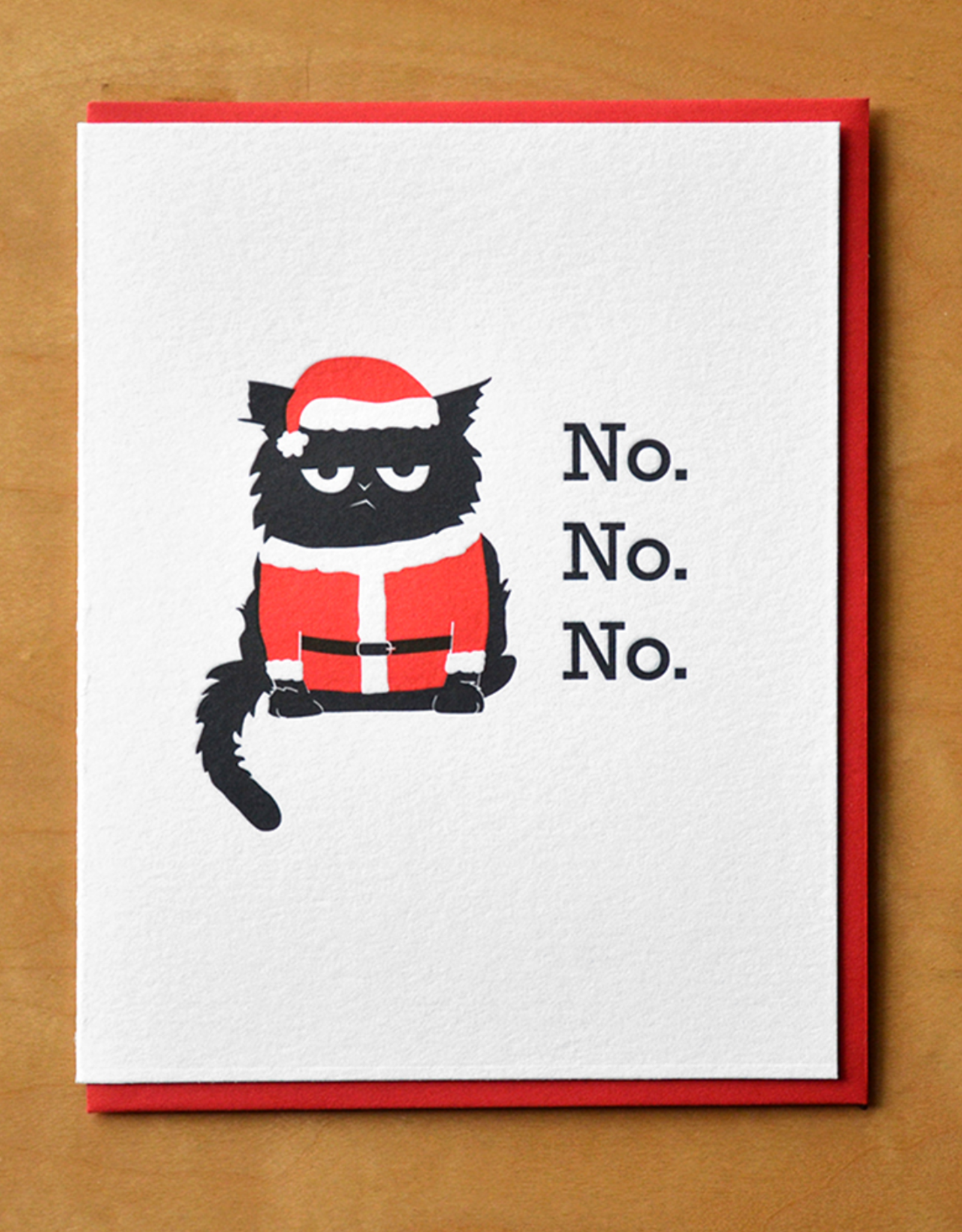 No No No Santa Cat Greeting Card