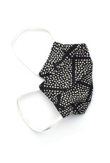 Pleated Cloth Face Mask -  Black & White Dots