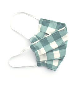 Pleated Cloth Face Mask -  Green Plaid