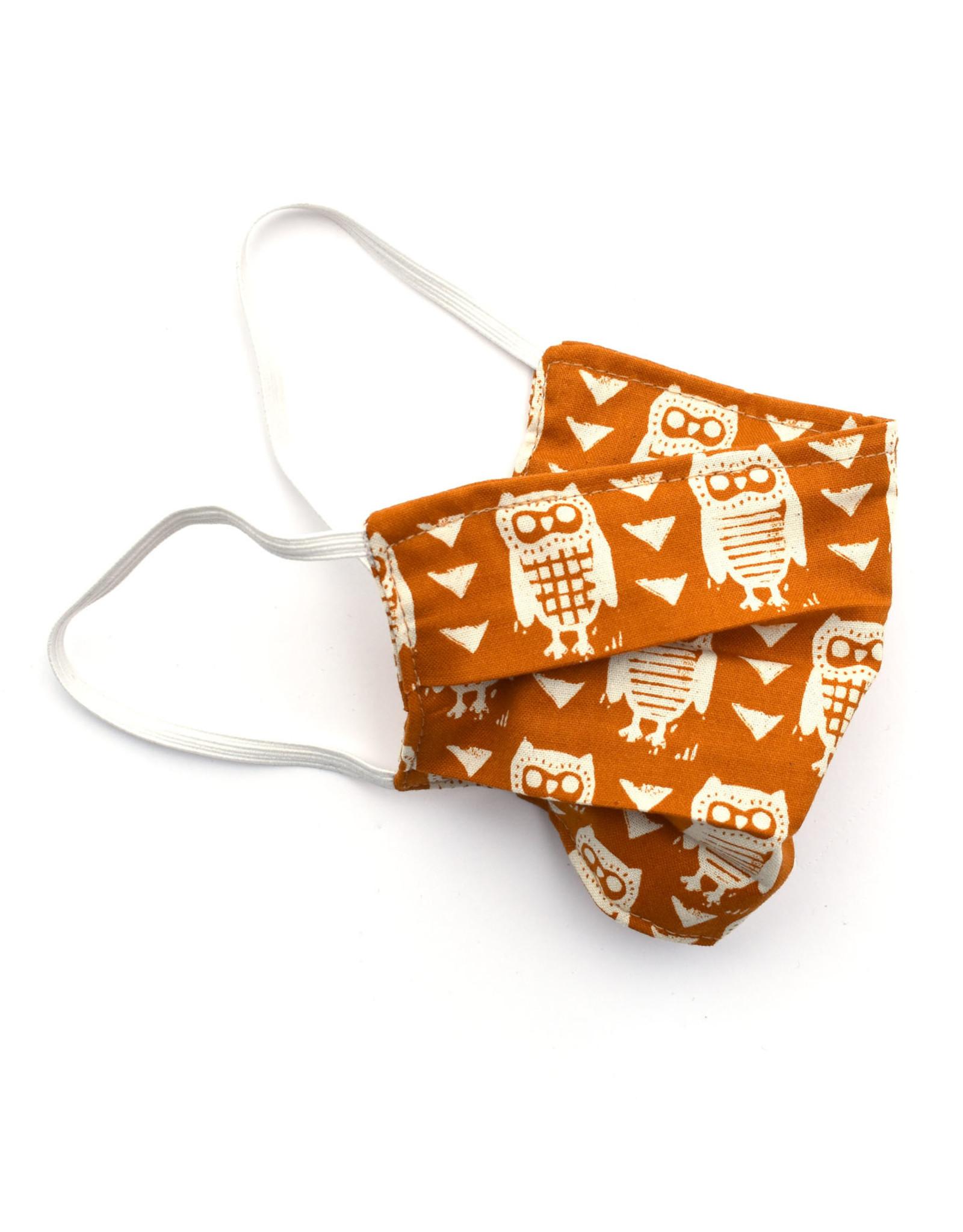 Pleated Cloth Face Mask -  Orange Owls