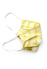 Pleated Cloth Face Mask -  Chartreuse Birds