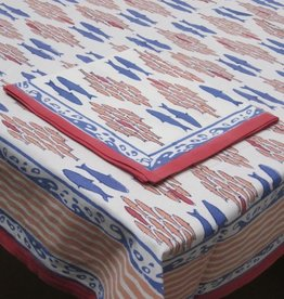 Salmon Block Print Tablecloth (60x60) - Red/Blue