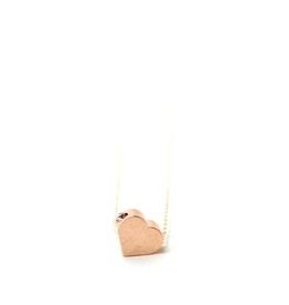 Petite Tiny Layering Heart Necklace - Rose Gold Heart, Silver Chain