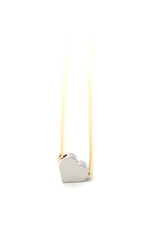 Petite Tiny Layering Heart Necklace - Silver Heart, Gold Chain