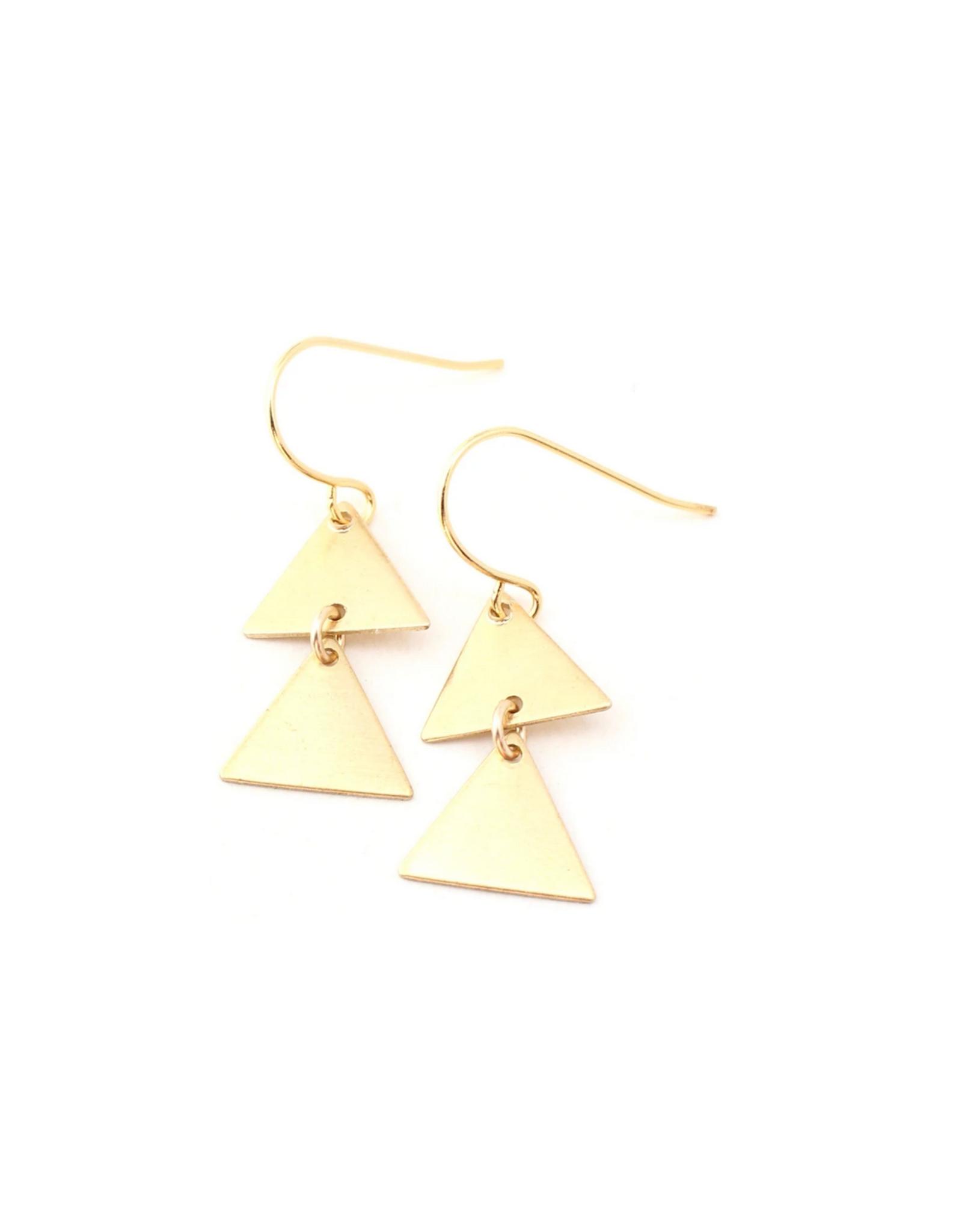 Rimi Double Triangle Charm Earrings