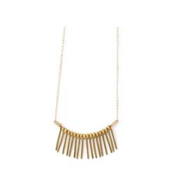 Rose Necklace - Vintage Gold & Brass Fringe