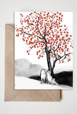 Persimmon Tree and Shiba Greeting Card