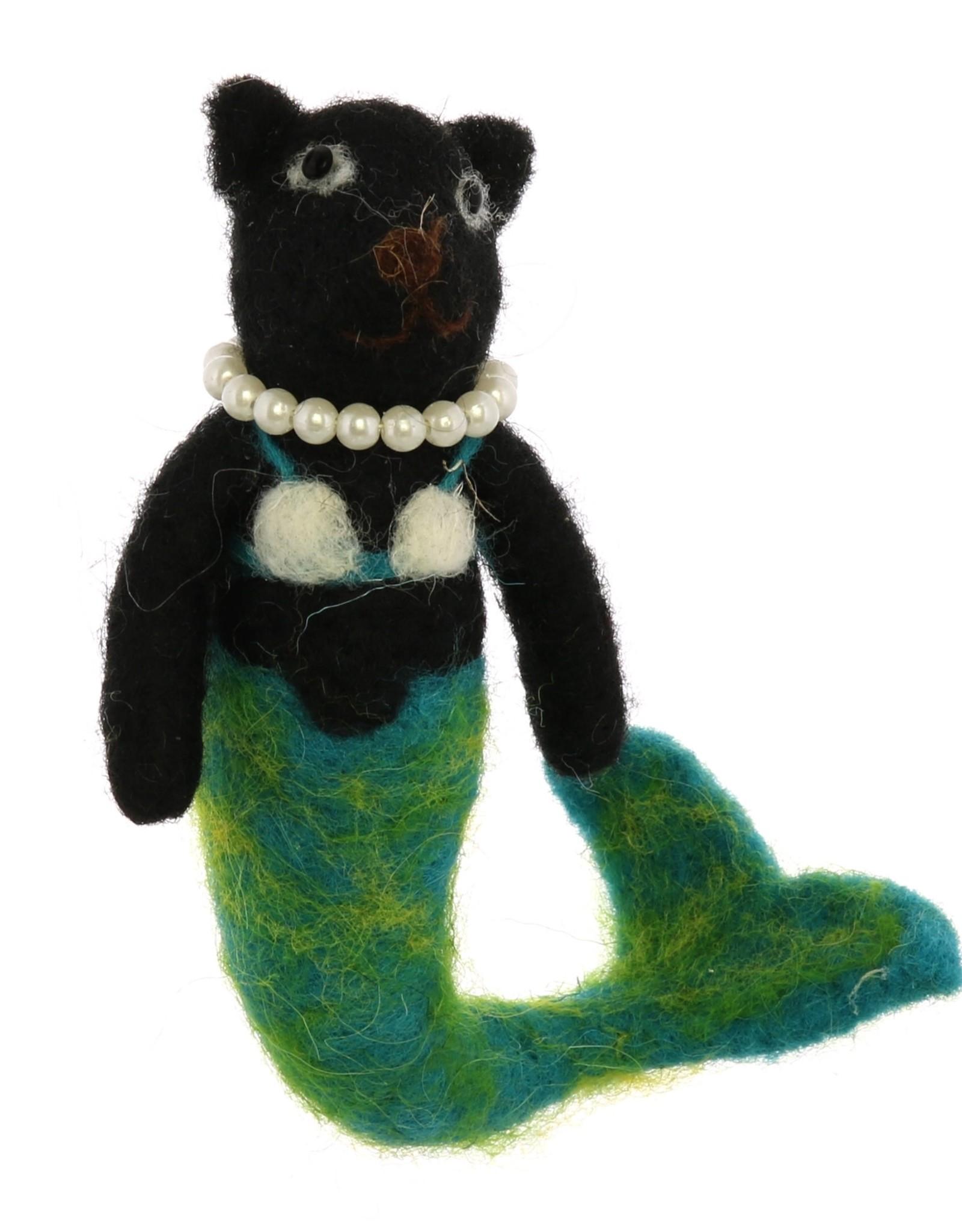 Mermaid Cat Ornament - Black