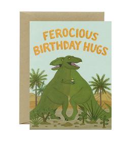 Ferocious Birthday Hugs T-Rex Greeting Card