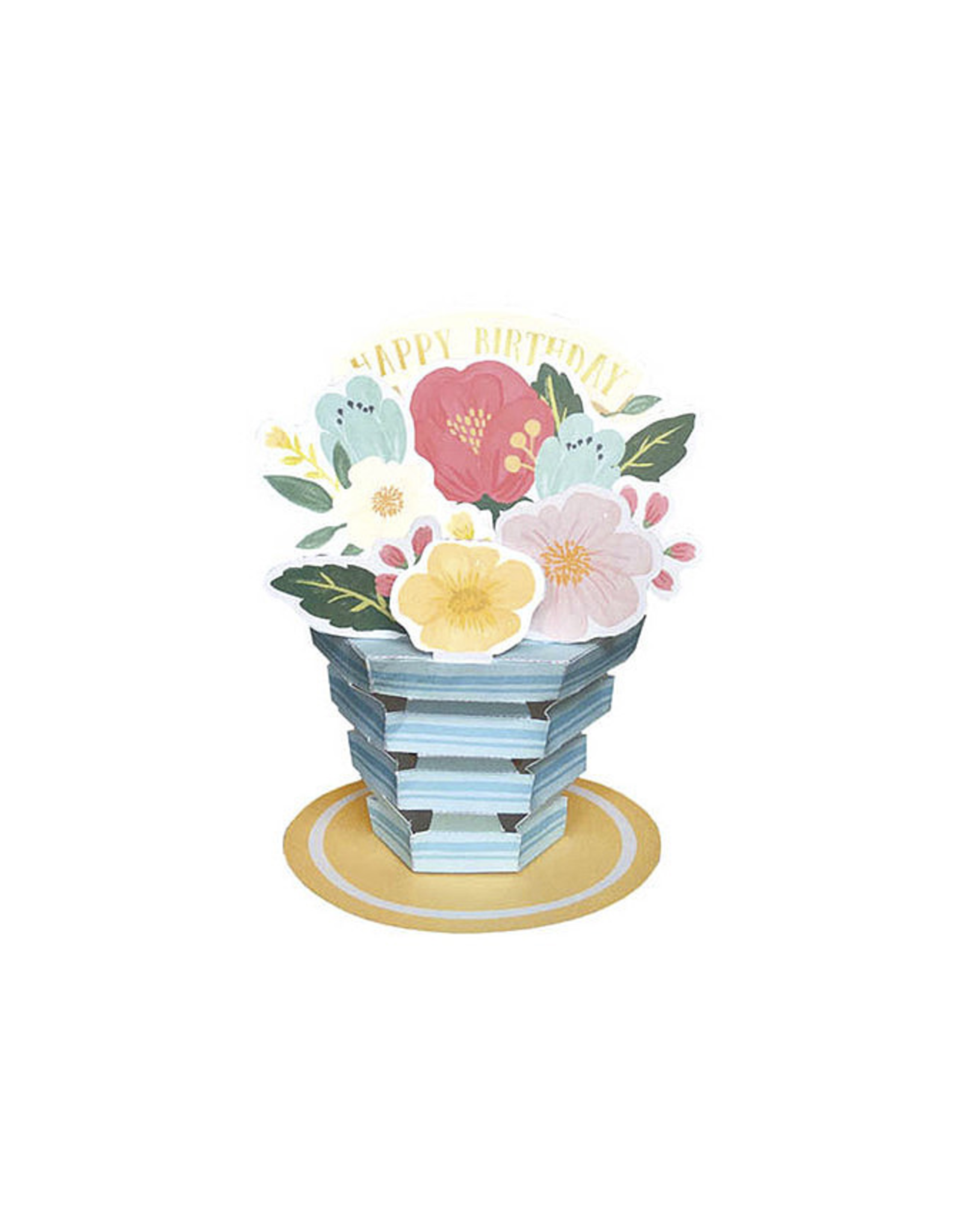Happy Birthday Blue Flower Pot Pop Up Greeting Card
