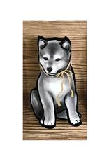 Grey Shiba Greeting Card