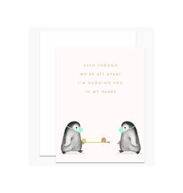 6ft Apart Penguins Greeting Card