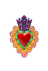 Hand Painted Tin Sacred Heart - Assorted