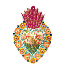 Hand Painted Tin Sacred Heart - Large