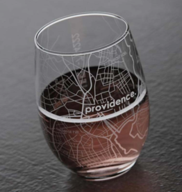 Providence RI Map Stemless Wine Glass
