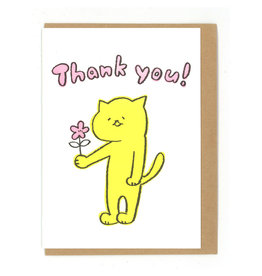 Thank You Cat Flower Greeting Card