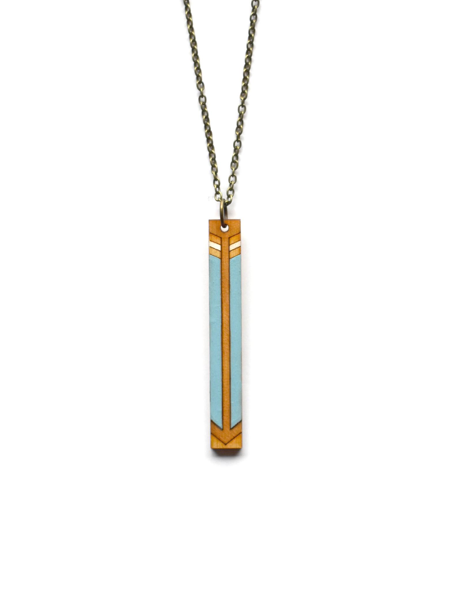 Laser Cut Arrow Necklace - Light Blue